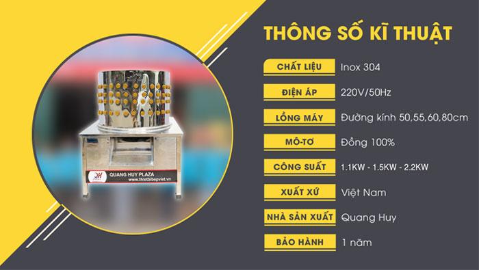 Thông số chung máy làm gà vịt Quang Huy