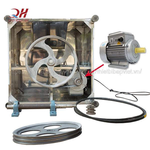 Động cơ máy làm gà vịt Quang Huy: motor, dây curoa, bánh đà, trục quay
