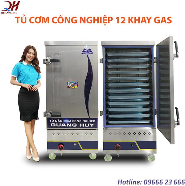Tủ cơm công nghiệp 12 khay gas tại Quang Huy