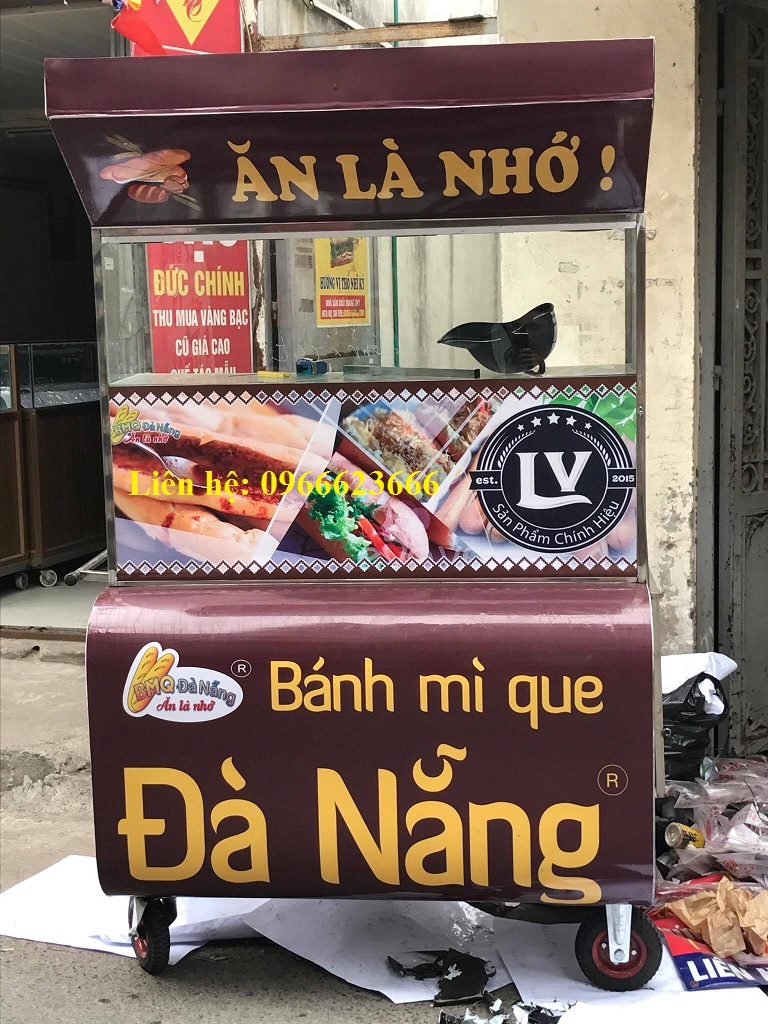 Xe bánh mì que Đà Nẵng 1m mẫu mới