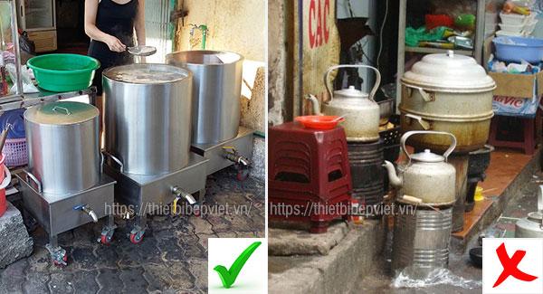 Sử dụng nồi nấu phở điện và truyền thống