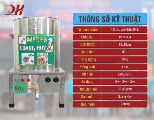 Thông số nồi nấu phở điện Quang Huy 80l