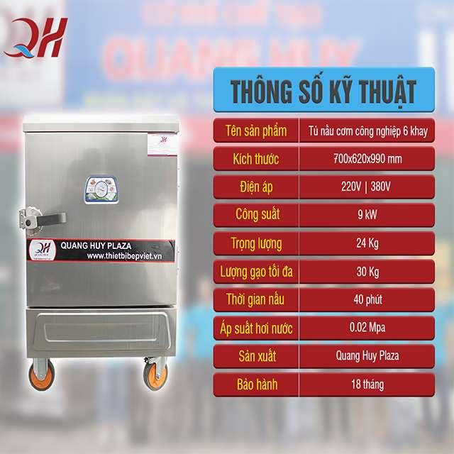 Thông số kỹ thuật tủ nấu cơm công nghiệp bằng điện 6 khay