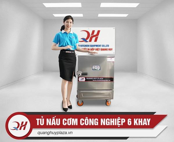 Qung Huy phân phối tủ nấu cơm công nghiệp bằng gas 6 khay trên Toàn Quốc