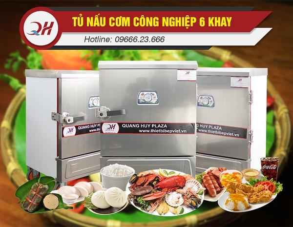 Tủ nấu cơm công nghiệp 6 khay vận hành đơn giản