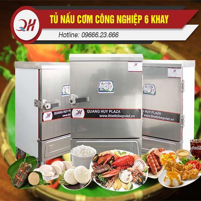 Tủ nấu cơm công nghiệp 6 khay vận hành đơn giản, nấu hấp đa năng