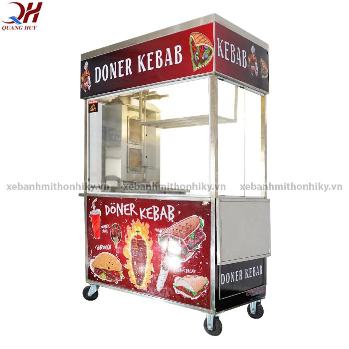 Xe bánh mì doner kebab 1m2 được bố trí lò nướng thịt 2 buồng đốt
