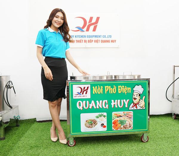 Quang Huy nồi nấu nước dùng chung bệ xe đẩy