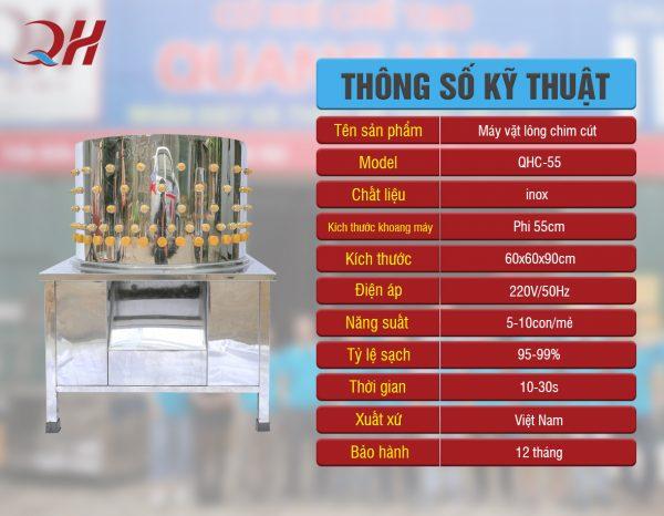 Máy Vặt Lông Chim Cút QHC-50 Chính Hãng