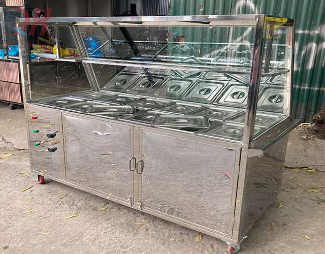 Tủ giữ nóng thức ăn Quang Huy làm từ inox 304 chổng gỉ