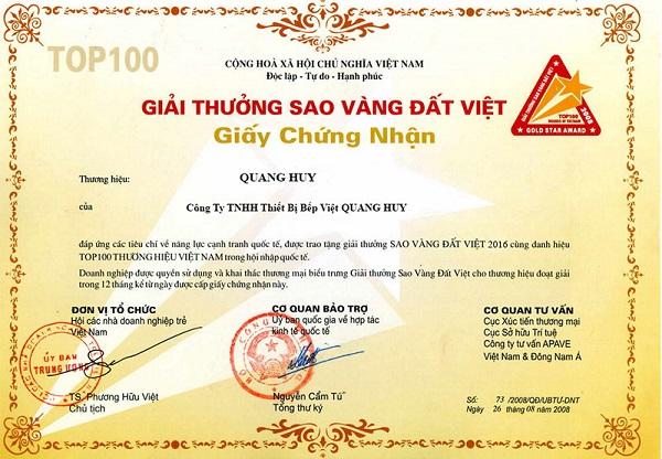 Giấy chứng nhận chất lượng sản phẩm của Quang Huy
