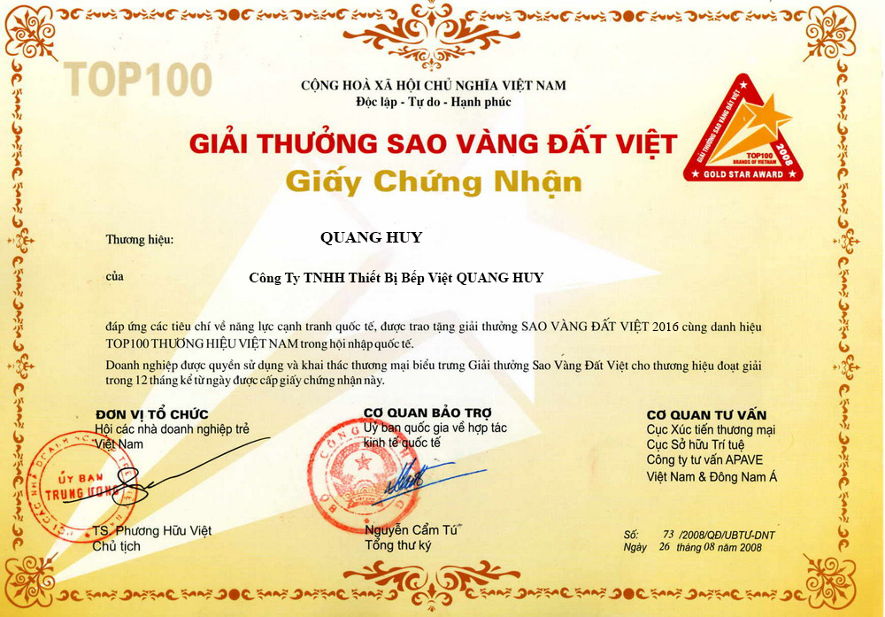 Quang Huy được chứng nhận là một trong những cơ sở uy tín nhất hiện nay