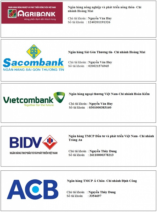 Tài khoản ngân hàng của Quang Huy