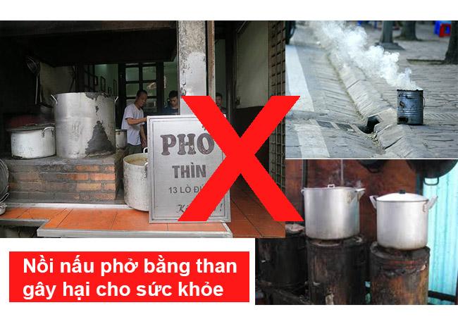 Sử dụng nồi nấu phở điện, tuyệt đối không sử dụng nồi nấu phở than
