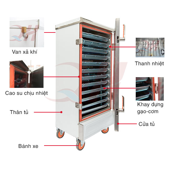 Cấu tạo hiện đại của tủ hấp cơm công nghiệp inox