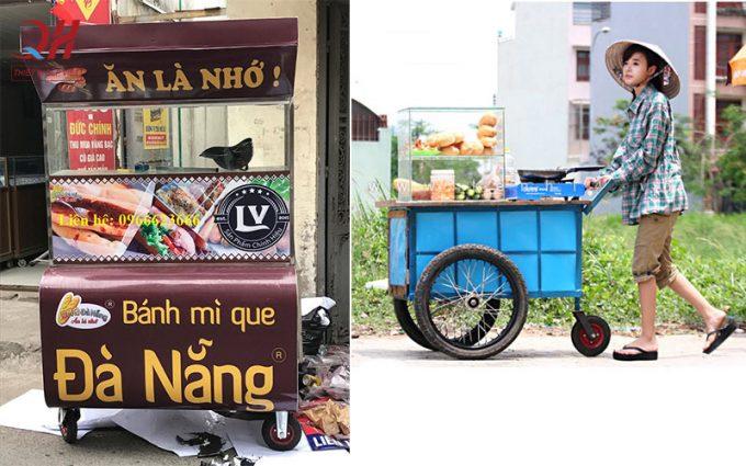 Xe đẩy bán bánh mì que tự chế và xe do Quang Huy sản xuất phân phối