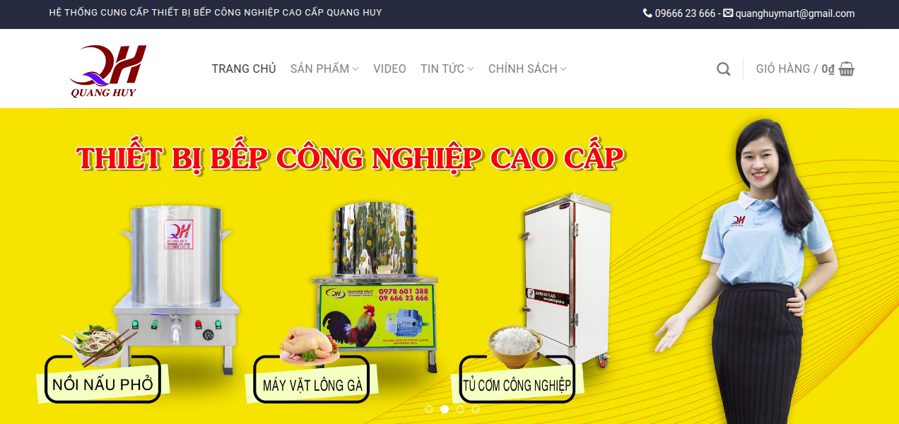 Giao diện website bếp Việt Quang Huy