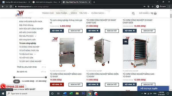 Bạn có thể mua hàng online trên Website bán hàng của Quang Huy