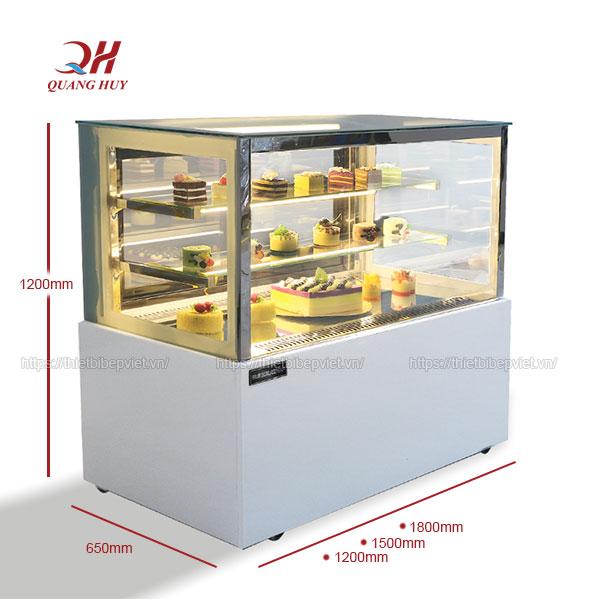 Kích thước tủ trưng bày bánh kem 3 tầng 1m5