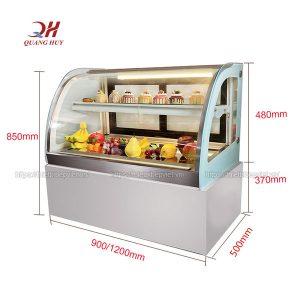 Kích thước tủ bánh kem để bàn kính cong 1m2