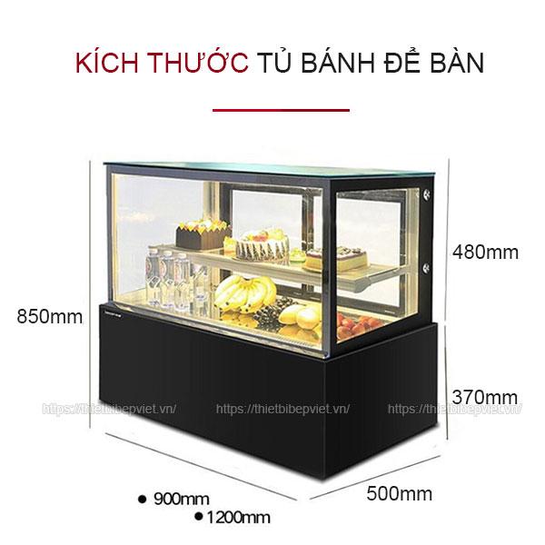 Kích thước tủ bánh kem để bàn loại nhỏ