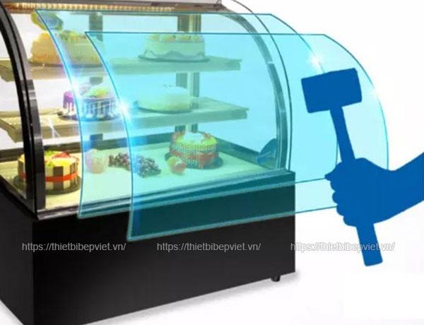 Tủ trưng bày bánh kem để bàn kính cong 90cm