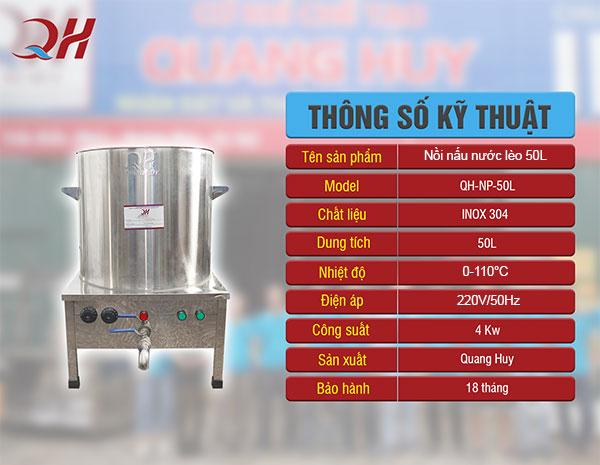 Nồi nấu nước lèo bằng điện 50L Quang Huy