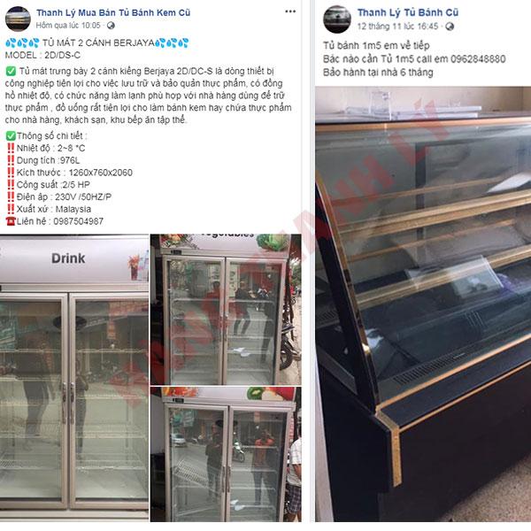 Thanh lý tủ bánh kem cũ trên Facebook