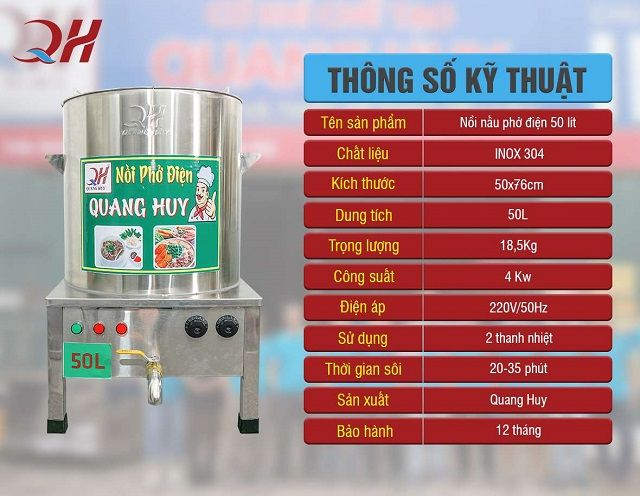 Thông số nồi nấu phở điện 50 lít