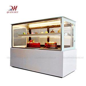 Tủ bánh kem để bàn kính vuông loại nhỏ 1m2 trắng