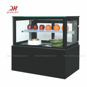Tủ bánh kem để bàn kính vuông loại nhỏ 1m2 đen