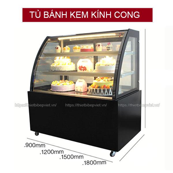 Tủ bánh kem kính cong màu đen