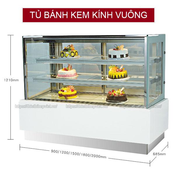 Tủ bánh kem kính vuông