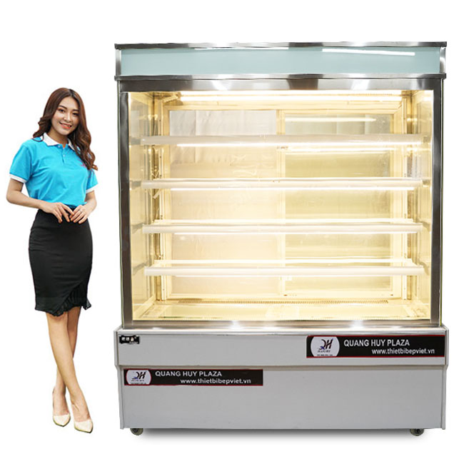 Tủ trưng bày bánh kem 1m2 kính vuông 5 tầng màu trắng