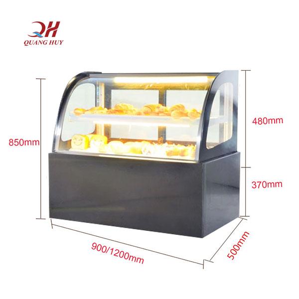 Tủ trưng bày bánh kem để bàn kính cong 1m2