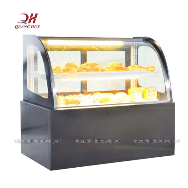 Tủ trưng bày bánh kem để bàn kính cong 90cm đen