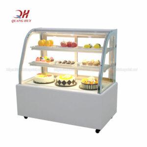 Tủ trưng bày bánh kem kính cong 3 tầng 1m5 trắng