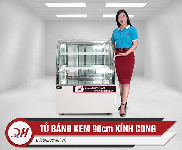Tủ trưng bày bánh kem mini để bàn kính cong 90cm