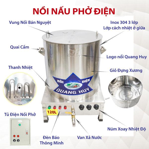Thiết kế cấu tạo nồi điện nấu phở Quang Huy