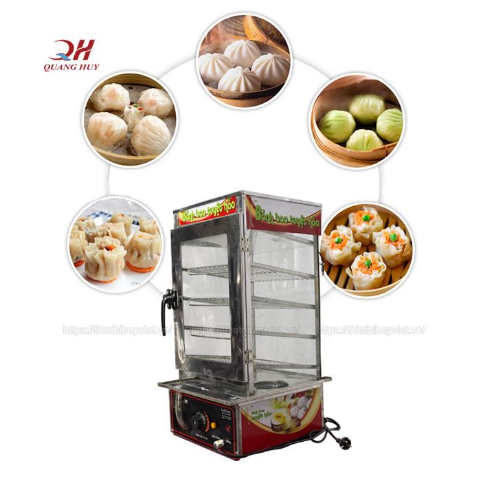 Tủ trưng bày và giữ nóng bánh bao 4 tầng Quang Huy
