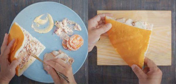 Hoàn thành món bánh mì tam giác