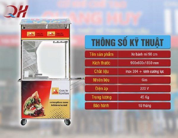 Thông số kỹ thuật của xe bán bánh mì 90cm
