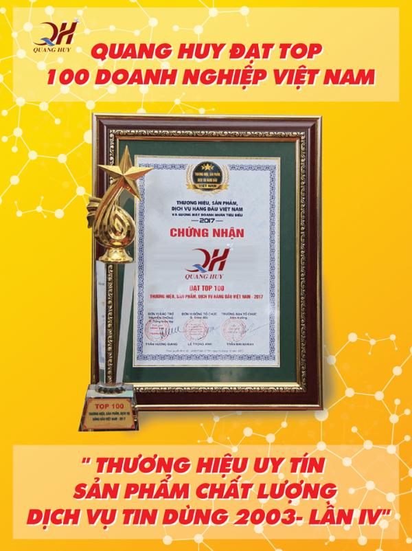 Quang Huy đạt top 100 doanh nghiệp uy tín - sản phẩm chất lượng