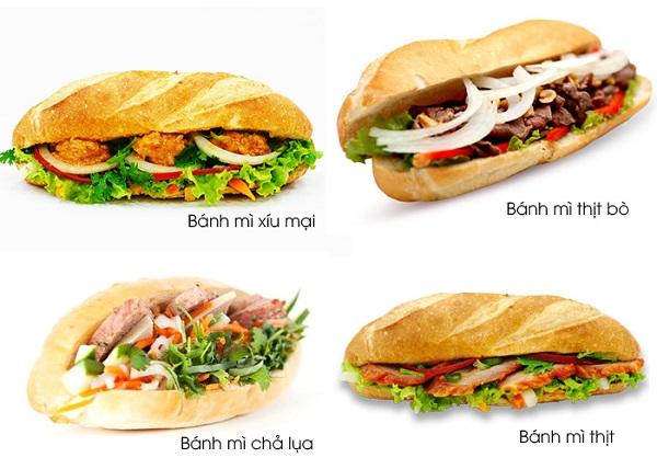Có rất nhiều loại bánh mì nhân thịt