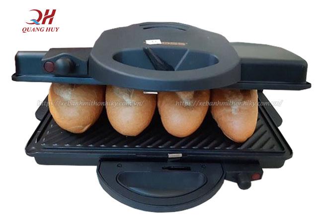 Máy kẹp bánh mì Tiross có khả năng làm nóng giòn bánh mì nhanh chóng