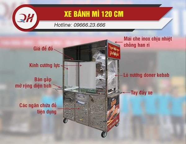 Đặc điểm cấu tạo xe bán bánh mì Quang Huy