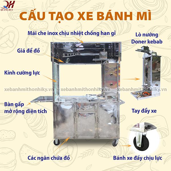 Xe bánh mì doner kebab của Quang Huy được thiết kế chắc chắn và tiện lợi