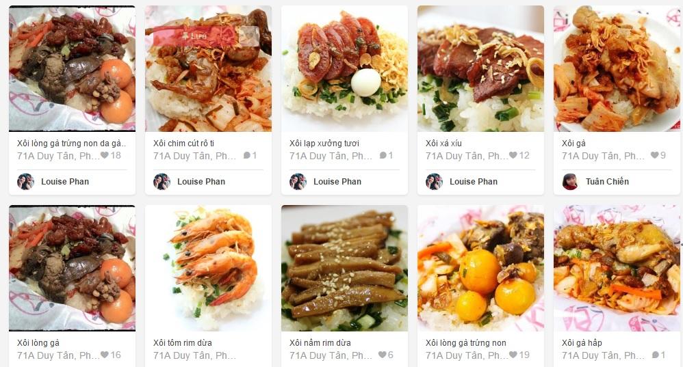 Menu thực đơn online với các món xôi vô cùng hấp dẫn