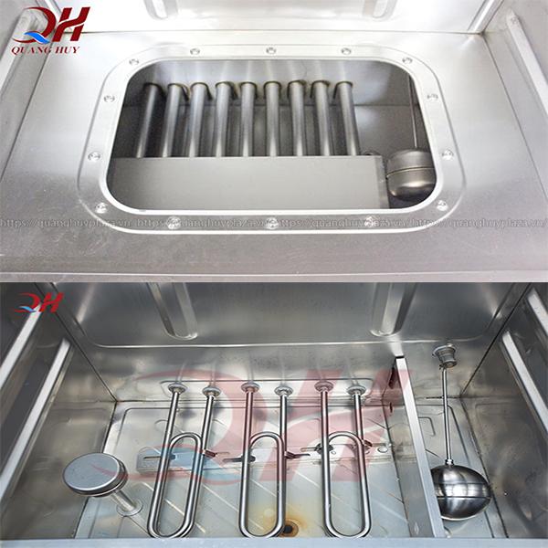 Bộ phận gia nhiệt của tủ nấu cơm gas (ở trên) và thanh nhiệt của tủ cơm điện (bên dưới)