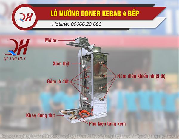Lò nướng thịt Doner Kebab 4 buồng đốt chính hãng giá rẻ của Quang Huy